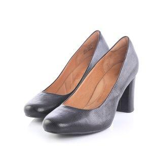 Clarks Indigo Black Lizard Leather Pumps Heels